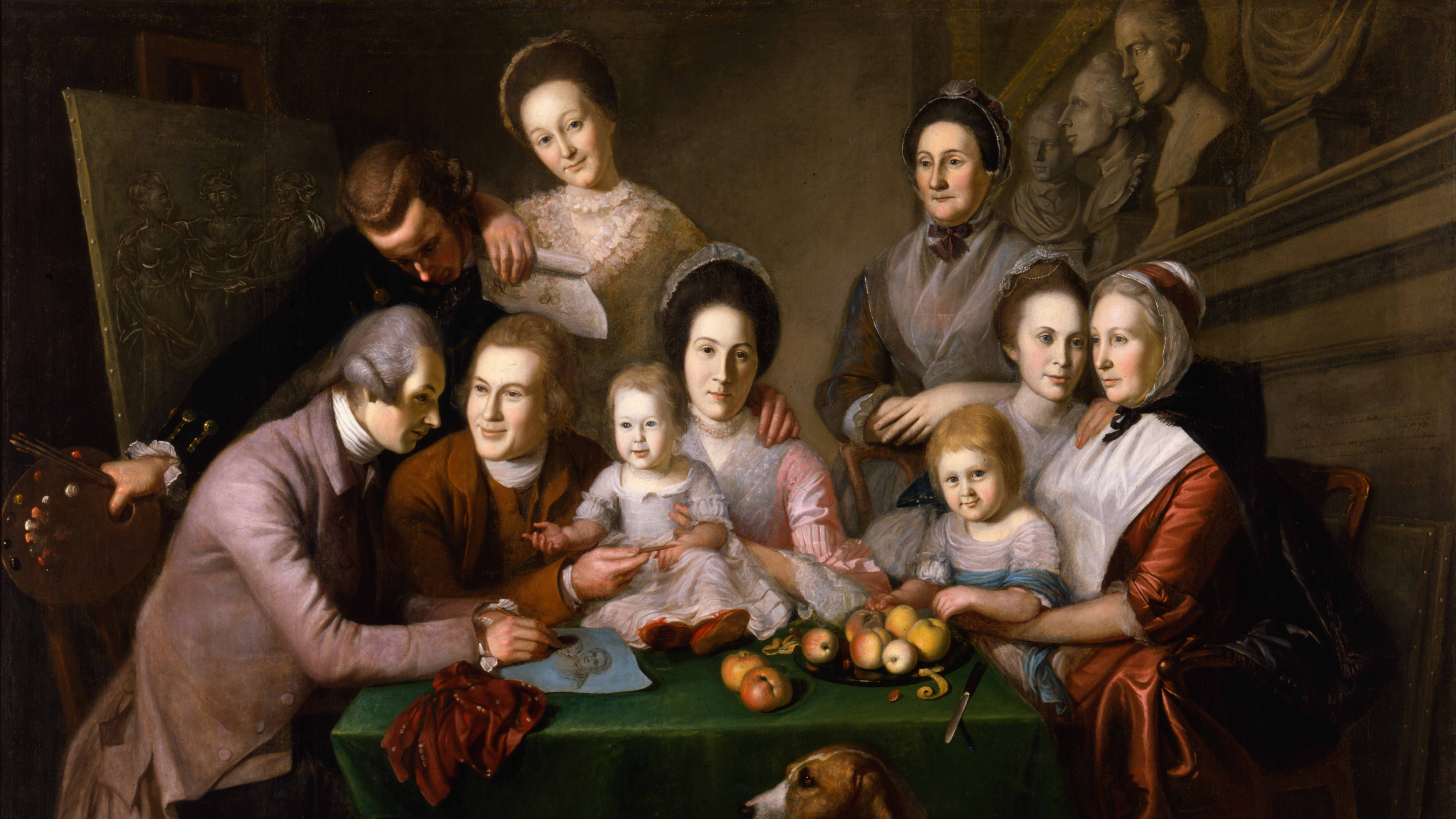 Painting of The Peale Family by Charles Willson Peale.