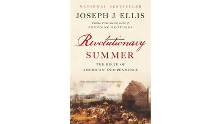 This image depicts the book cover of Revolutionary Summer by Joseph Ellis. The text is written in red and black colored font.