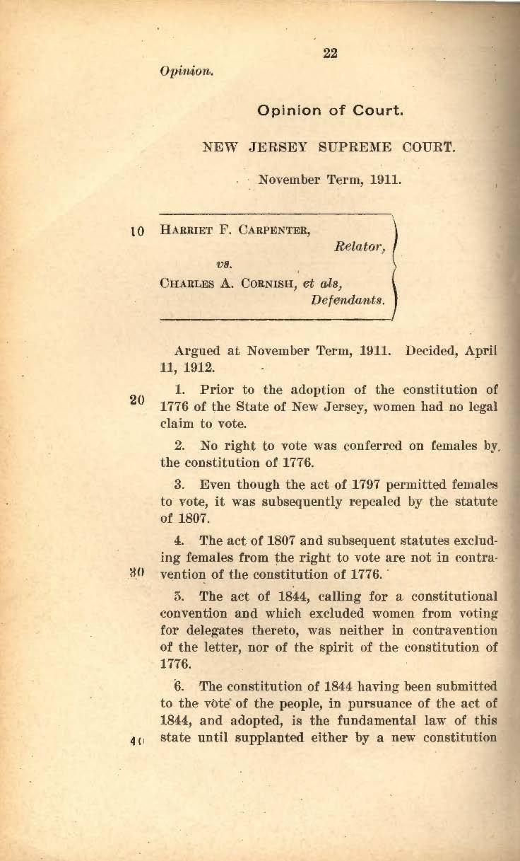 Text from Carpenter vs. Cornish case, 1912.