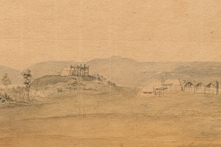A zoomed in section of Verplanck's Point featuring General Washington's tent perched on a hill overlooking the encampment