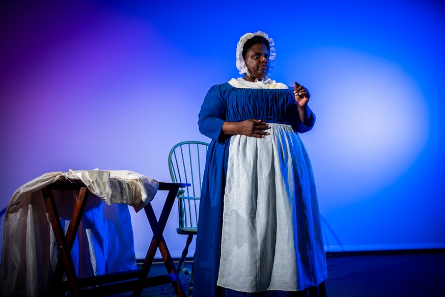 Tiffany Bacon portrays Elizabeth Freeman at the Museum of the American Revolution.