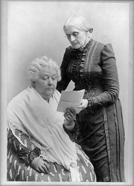 Photo of Elizabeth Cady Stanton, Seated, and Susan B. Anthony, Standing