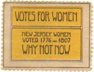 "Photo of a ""Votes for Women"" stamp."