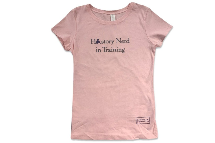 Pink youth-size t-shirt that reads history nerd in training