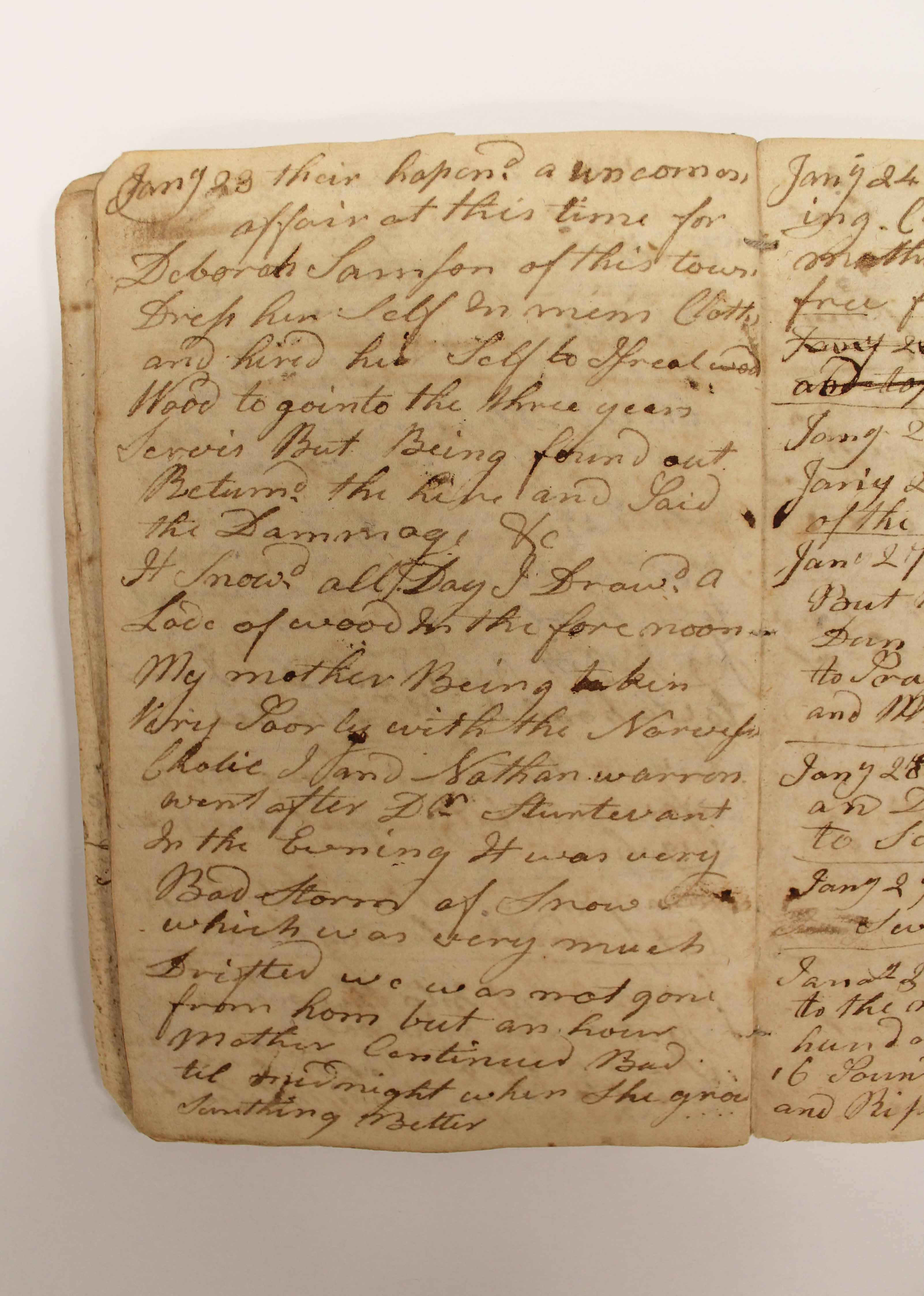 Photo of an Abner Weston diary mentioning Deborah Sampson.