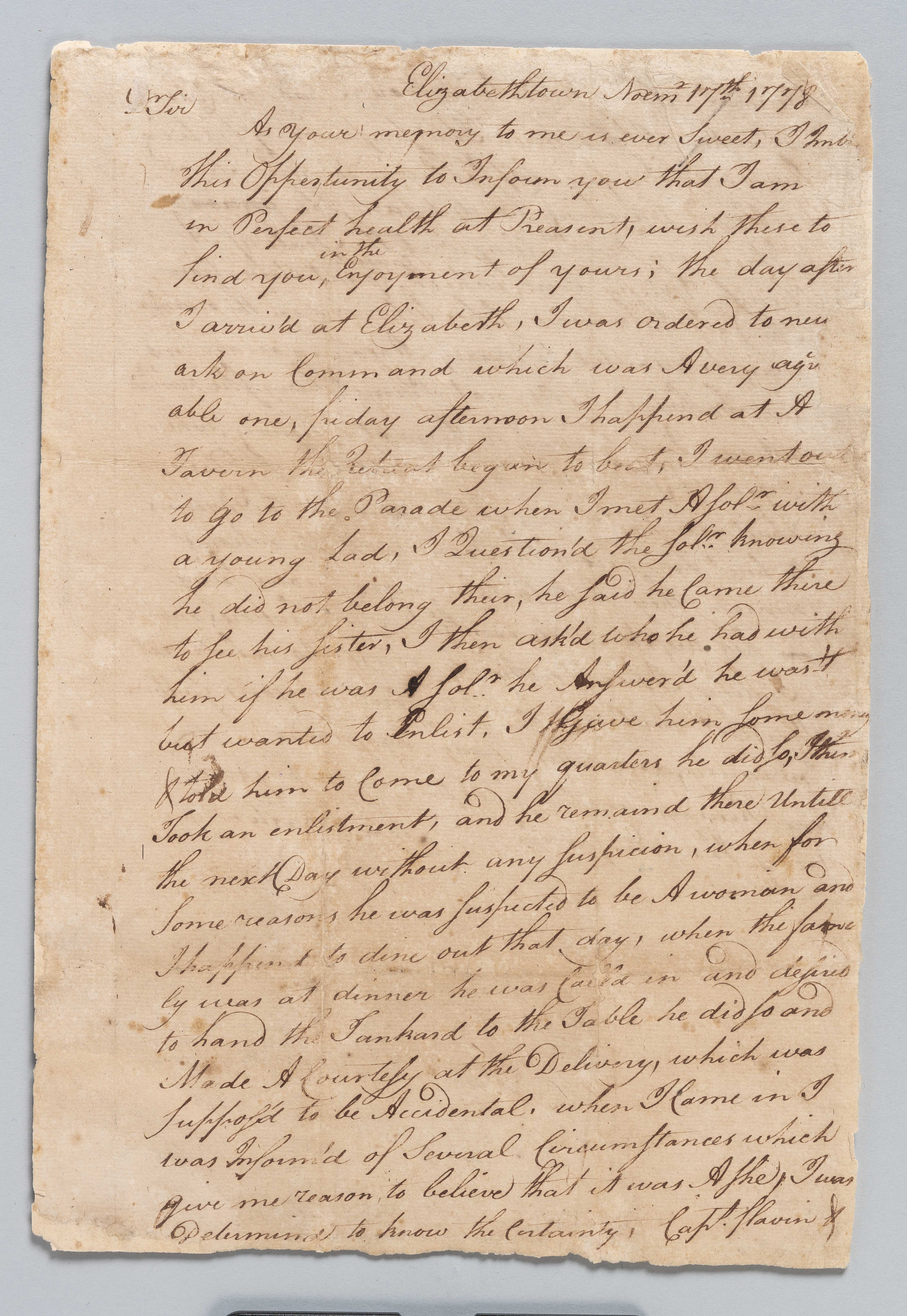 Letter by William Barton on female soldier discovery in Elizabethtown, NJ.
