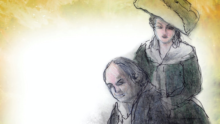 An illustration of Abigail Adams standing behind John Adams