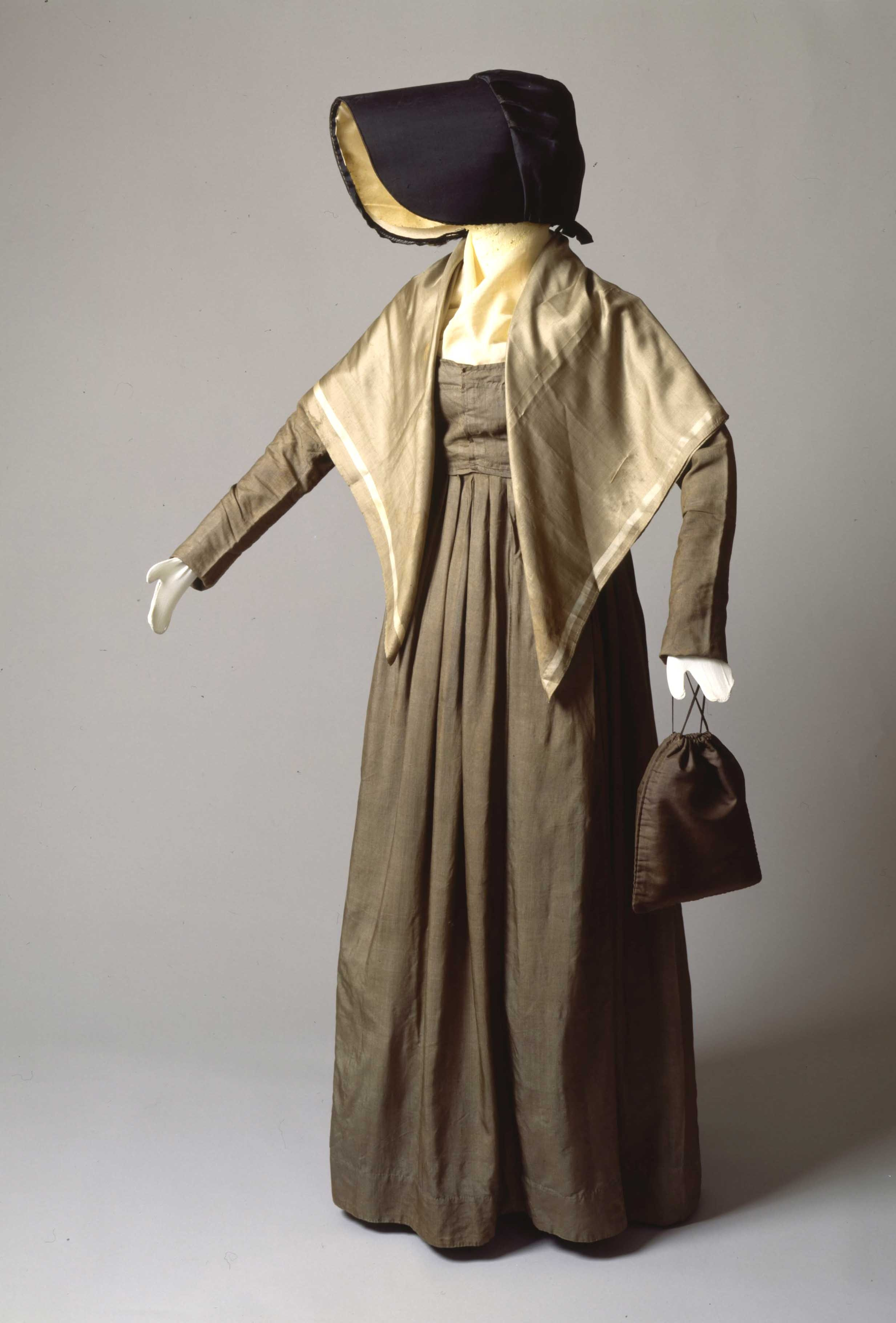 Photo of a Quaker work dress ensemble.