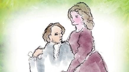 An illustration of Abigail and John Adams embracing.