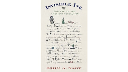 This image depicts the book cover of Invisible Ink: Spycraft of the American Revolution. The book cover shows a letter written with words and images. The images are used in place of words to code the message.