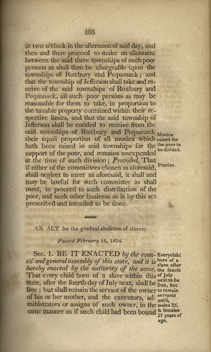 Text from 1804 Act for the Gradual Abolition of Slavery.