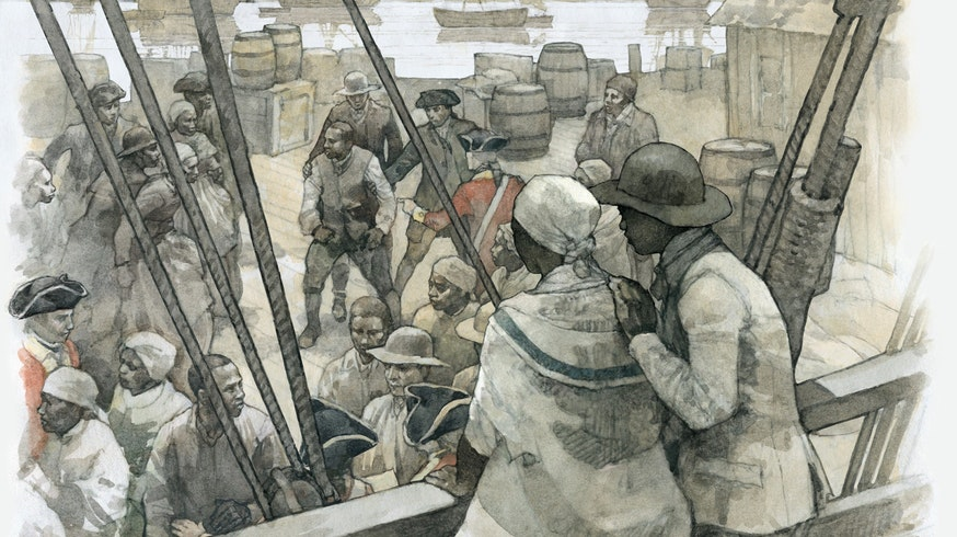 A watercolor depicts Deborah and Harry, with their backs to the viewer, aboard a ship setting sail for Nova Scotia. They look out on men and women in the streets fighting for their freedom, as the Americans won the war. Many people were fighting for a place on the ships that were evacuating Loyalists.