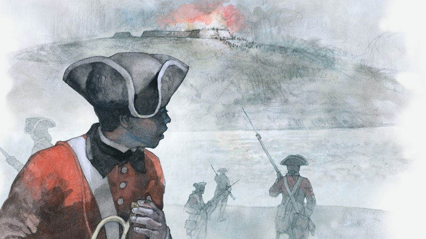 A watercolor depicts London, a person of African descent, with his trumpet lowered in his right hand. He is looking over his left shoulder toward a hill. On top of the hill, there is a fire and smoke. Running toward the hill are four British soldiers with their rifles pointed.